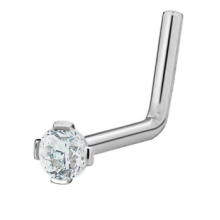 20G Surgical Steel 2 mm Cubic Zirconia Crystal L-Shaped Nose Ring