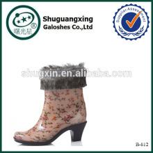Оптовые ботинки дождя желе высокие каблуки теплой ПВХ