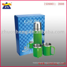 double wall stainless steel vacuum flask and cups gift set