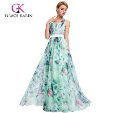 Grace Karin sem mangas de gola em V Floral Print Pattern Chiffon Prom Dress GK000066-1
