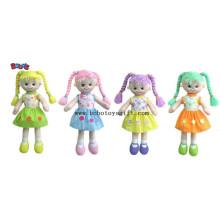 Softest Baby Spielzeug lächelnd Gesicht Mädchen gefüllt 3D Spielzeug in buntem Haar