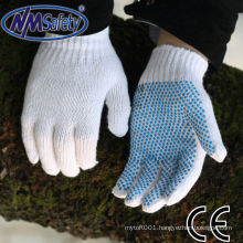 NMSAFETY cotton glove palm pvc dots PVC dotted one side or 2 sides pvc dots 700g/dozen