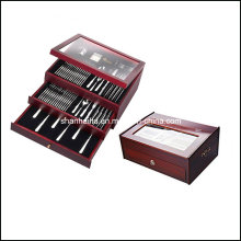 113 PCS Stainless Steel Flatware Set with Wood Case