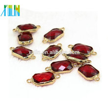 K9 Glass Ruby Crystal Beads with Alloy Connector Top Quality 10 pcs/bag Shine Crystal Connector for Jewelry Necklace