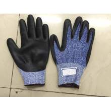 Blue Danima Nitrile Palm Coated Fake Foam Finished HDPE Gloves
