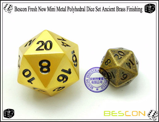 Bescon Fresh New Mini Metal Polyhedral Dice Set Ancient Brass Finishing-2