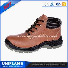 Sapatos de trabalho de segurança de dedo de pé de aço rosa de tornozelo de mulheres de couro rosa
