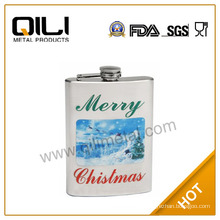 Custom hip flask,metal flask with water transfer-Christmas gift flasks