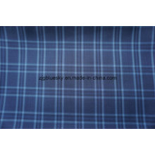Blue Check Wool Fabric with Polyester