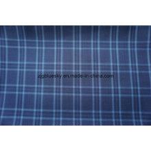 Blauer Karo-Wollstoff mit Polyester