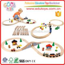 2015 Hot Sale Kids Train Set, fábrica de venda direta conjunto de trem de madeira, novo conjunto de trem de estrada de ferro