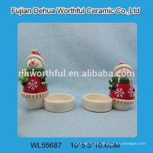 Sujetador de vela de cerámica del diseño del muñeco de nieve de las ventas al por mayor