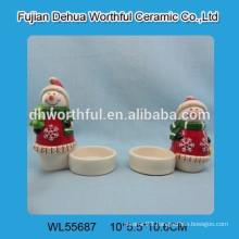Wholesales Christmas snowman design ceramic candle holder