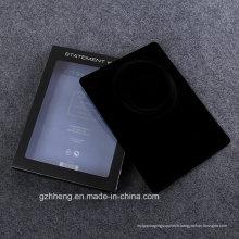 Boîte en plastique carrée avec couvercle transparent et insert velouté