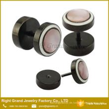 Black Plated Chirurgenstahl Gefälschte Ohrstöpsel Messgeräte Ringe Piercing Schmuck