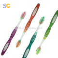 Three color handle massager tongue cleaner adult toothbrush