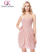 Grace Karin Strapless Sweetheart Cuello vestido de fiesta vestido de gasa de color rosa corto Dama de honor patrones de vestir 7 Tamaño EE.UU. 4 ~ 16 GK000124-2