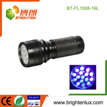 Factory Custom Made Cheap Aluminum Gem Testing 370nm-375nm Handheld 16 led Ultraviolet Torch Light