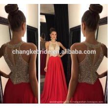Nouvelle collection perlée Halter Real Photo Chiffon Prom Dress 2017 robe de soirée