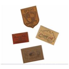 MOQ 100 Genuine PU Embossed Leather Logo