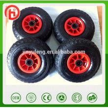 10 Zoll 4.10 / 3.50-4 Kunststoff Felge Pneumatische Luft Gummirad für Spielzeugauto Handwagen Castor