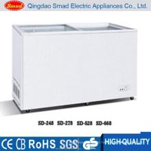 528L large capacity Glass flat top door deep freezer