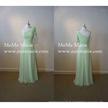 Ein Schulter-natürliches Taillen-Abend-Kleid-Blumenhülsen-Brautjunfer-Kleid mit handgemachten Blumen