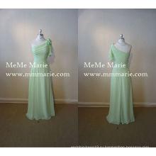 Одно плечо вечернее платье природные Талия рукав цветочные невесты с цветами ручной работы