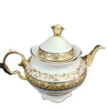 High quality wedding tableware decoration  golden pattern gold rim new bone china ceramic  tea pot