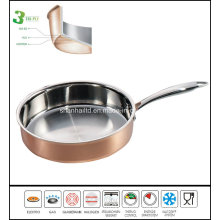 Tri-Ply Composite Material Copper Frypan