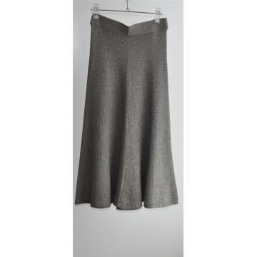 Las mujeres de punto de color puro vestido largo suéter