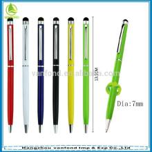 fábrica direta quente vendendo metal slim tela promocionais caneta hotel caneta stylus