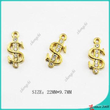 Metal Zinc Alloy Gold Tone $ Us Dollar Sign Charm