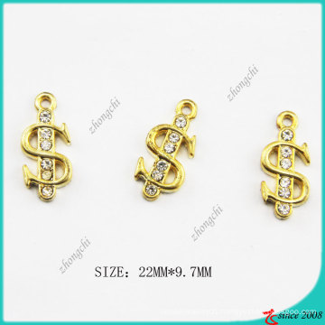 Metal Zinc Alloy Gold Tone $ Us Dollar Sign Charm