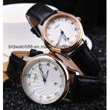 Quartz Black Leather Band Pair Watches for Lover