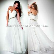 Strapless v-neckline aplaties plissées robe de soirée à la mode
