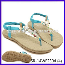 SR-14WF2304 (4) sandalias planas de la señora del verano de las sandalias de la manera de los sandalias de las mujeres de las sandalias de la señora