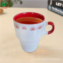 Ceramic outside white inner red coffee mugs