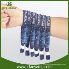 Materiais de tecido tecido pulseiras de tecido personalizado com bloqueio deslizante