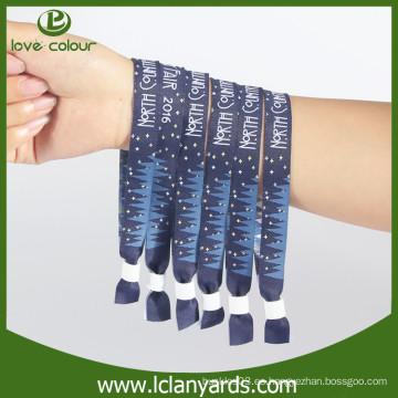 Materiales de tejido tejido pulseras de tela personalizada con bloqueo de diapositivas