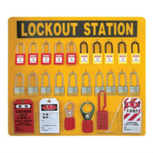 CE certification 20pc safety padlock+6*6 hole hasp lock+50*PVC lock out tag safety lockout stations