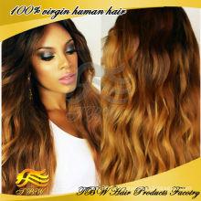 2015 Nouveau design naturel brésilien pleine dentelle perruque ombre pleine dentelle perruque
