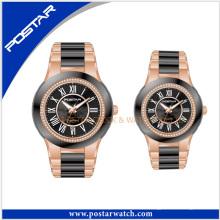 Мода из нержавеющей стали пар марка наручные часы Классические пару Смотреть