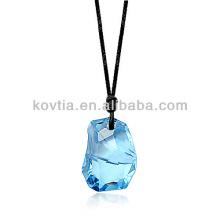 Yiwu Fabrik Großhandel Schmuck blau Kristall Stein Halskette schwarze Seil Ketten Halskette