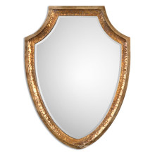 Antiqued Gold Hammered Metal Framed Beveled Wall Mirror for Home Decoration