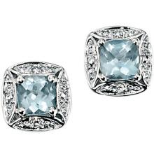 Белое золото Синий квадрат Аквамарин 925 Серебряные серьги с бриллиантами