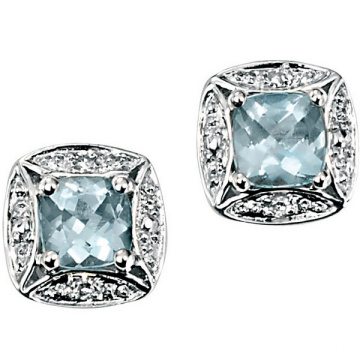 White Gold Blue Square Aquamarine 925 Silver Stud Earrings Jewelry