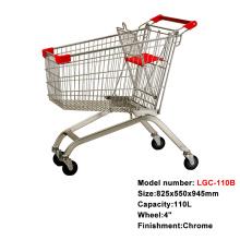 卸売モールの金属ショッピングカート車輪付きのトロリー