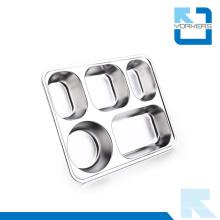 Haute qualité 5 compartiments Plat plat en acier inoxydable Plateaux à buffet