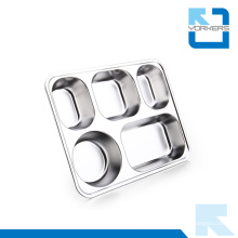 High Quality 5 Compartments Stainless Steel Food Tray Plate Buffet Trays